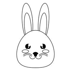cute rabbit head icon over white background, vector illustration