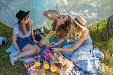 Group of girls friends making picnic outdoor. They sit, smile and eat fruit