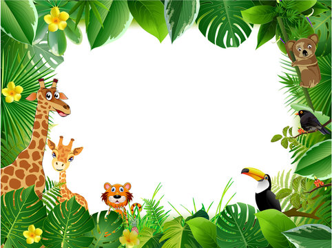 Bright tropical background with cartoon; jungle; animals;