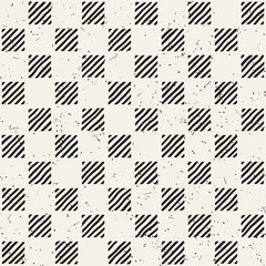 Hand drawn seamless repeating pattern with checker lines tiling. Grungy freehand background texture.