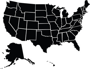 Chunky, rough map of the country of the United States of America divided into states.