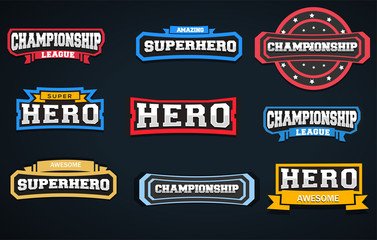 Super Hero Typography Stickers or Graphics for Tshirts.