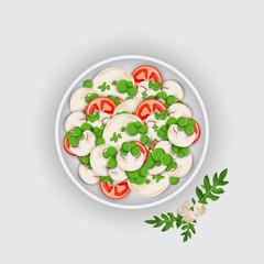 Bowl of a Salad on white background. Vegan Food.