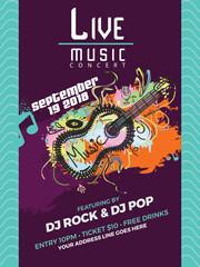 Musical flyer, poster or banner design.