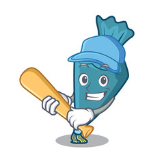 Playing baseball pastrybag character cartoon style