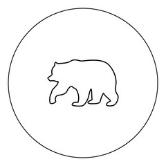 Bear icon black color in circle vector illustration isolated