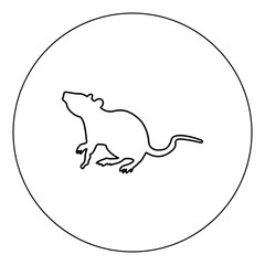 Rat icon black color in circle vector illustration isolated