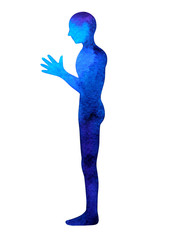 human standing hand up pose, abstract body watercolor painting hand drawing