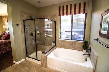 Modern Bathroom With Glass Shower And Tub