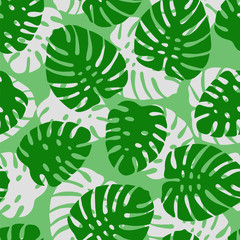 Monstera. Tropical leaves seamless pattern. Vector illustration.