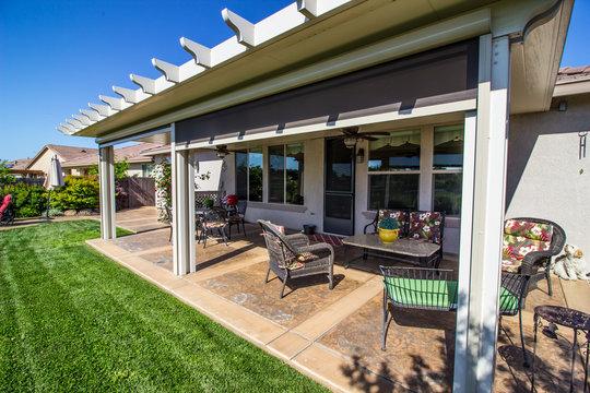 Modern Rear Yard Patio With Furniture
