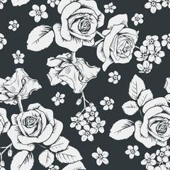 White roses and myosotis flowers on black background. Seamless pattern. Vector illustartion