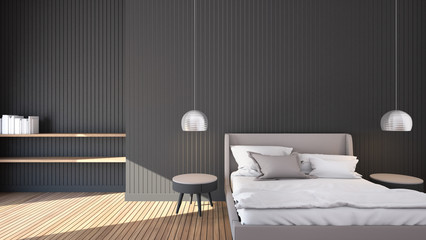 Simple Bedroom for Mock up Interior / 3D render image