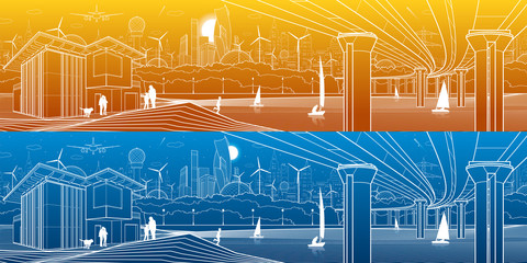 Futuristic City Life. Infrastructure panorama. Industrial illustration. Large automobile bridge. People on the river bank. Modern houses. Airplane fly. White lines, color background. Vector design art