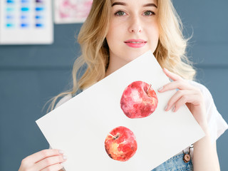 art painting. inspiration and creativity concept. picture of apples. watercolor drawing of fruit. artist creations.