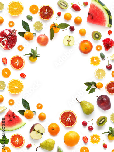 Fototapete Various  fruits (watermelon, apple, orange, tangerine) isolated on white background, top view, creative flat layout. Concept of healthy eating, food background. Frame of  fruits with space for text.