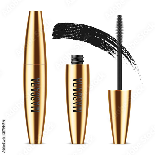 ae9894c2c2d Realistic vector golden Mascara Bottle, brush and mascara Brush Strokes.  Black wand, strokes and tube Isolated on white background.