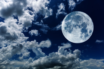 Super moon of background night sky with cloudy