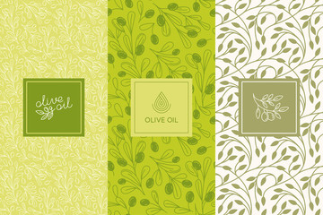 Vector packaging design elements and templates for olive oil labels and bottles - seamless patterns Wall mural