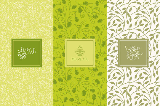 Vector packaging design elements and templates for olive oil labels and bottles - seamless patterns