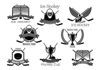 Ice hockey club tournament cup award vector icons