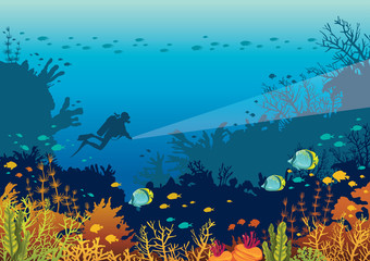 Underwater ccoral reef, fishes and scuba diver.