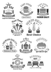 Fast food restaurant vector icons set
