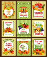 Autumn sale poster of Thanksgiving special offer