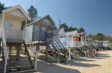 Huts on beach at Holkham Sands, Norfolk
