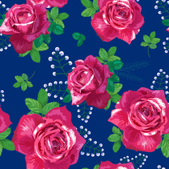 pattern with pink, red roses