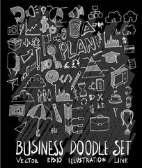 Hand drawn Sketch doodle vector Business set on Chalkboard eps10