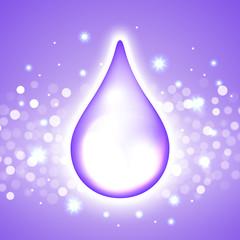 Vector water drop on the boken lights blue violet background