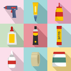 Glue stick adhesive icons set. Flat illustration of 9 glue stick adhesive vector icons for web