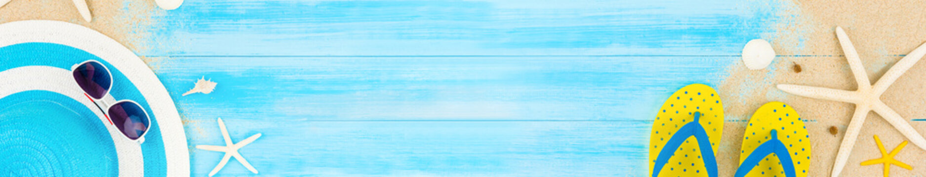 Colorful summer holiday beach web banner background