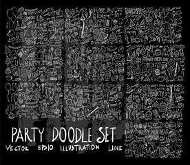 Hand drawn Sketch doodle vector line Party element icon set on Chalkboard eps10