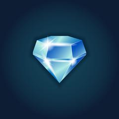 Blue Dazzling diamond on black background.