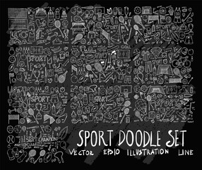 Hand drawn Sketch doodle vector line Sport element icon set on Chalkboard eps10