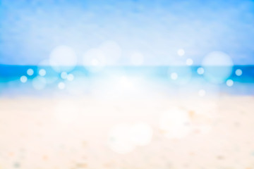 Blurred blue sea with bokeh. Beach in summer. Vector illustration background.