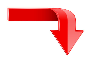 Red bent arrow. Down 3d symbol