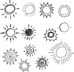 Hand drawn Sketch doodle vector line Sun icon element set eps10