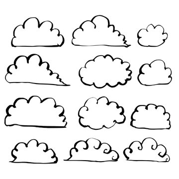 Hand drawn Sketch doodle illustration vector line cloud icon set eps10