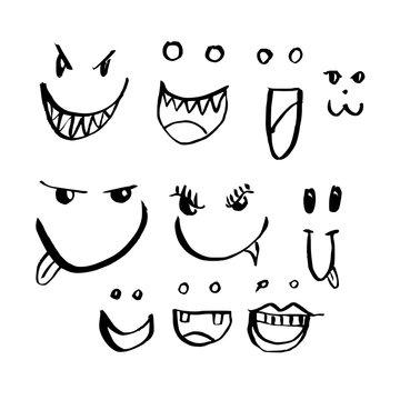 Hand drawn Sketch doodle illustration vector line Face icon set eps10