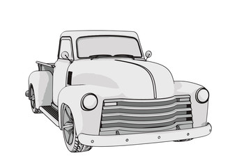 sketch pickup car vector