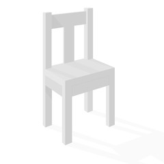 Chair. White simple furniture element with perspective view
