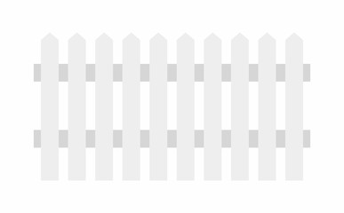 White wooden fence. flat style. isolated on white background
