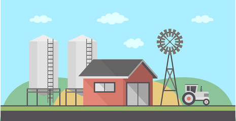Farm Landscape, flat style. vector background