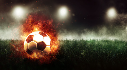 Football on fire concept
