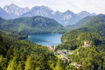 Views of Alpsee lake and Hohenschwangau, from Neuschwanstein castle, with Schloss Hohenschwangau visible in the lower right, Germany