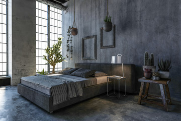Double bed in loft style bedroom with large window