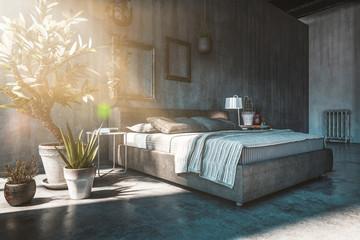 Doppelbett in Schlafzimmer in Loft